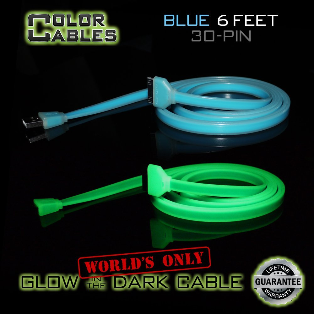 Color Cables: Apple 30 Pin Charge and Sync Data Cable (BLUE) - 6FT) Glow in the Dark - 1.8M Extra Long - Extra Tough - No Tangle - High-Speed - Premium 30 Pin to USB A Male Cable