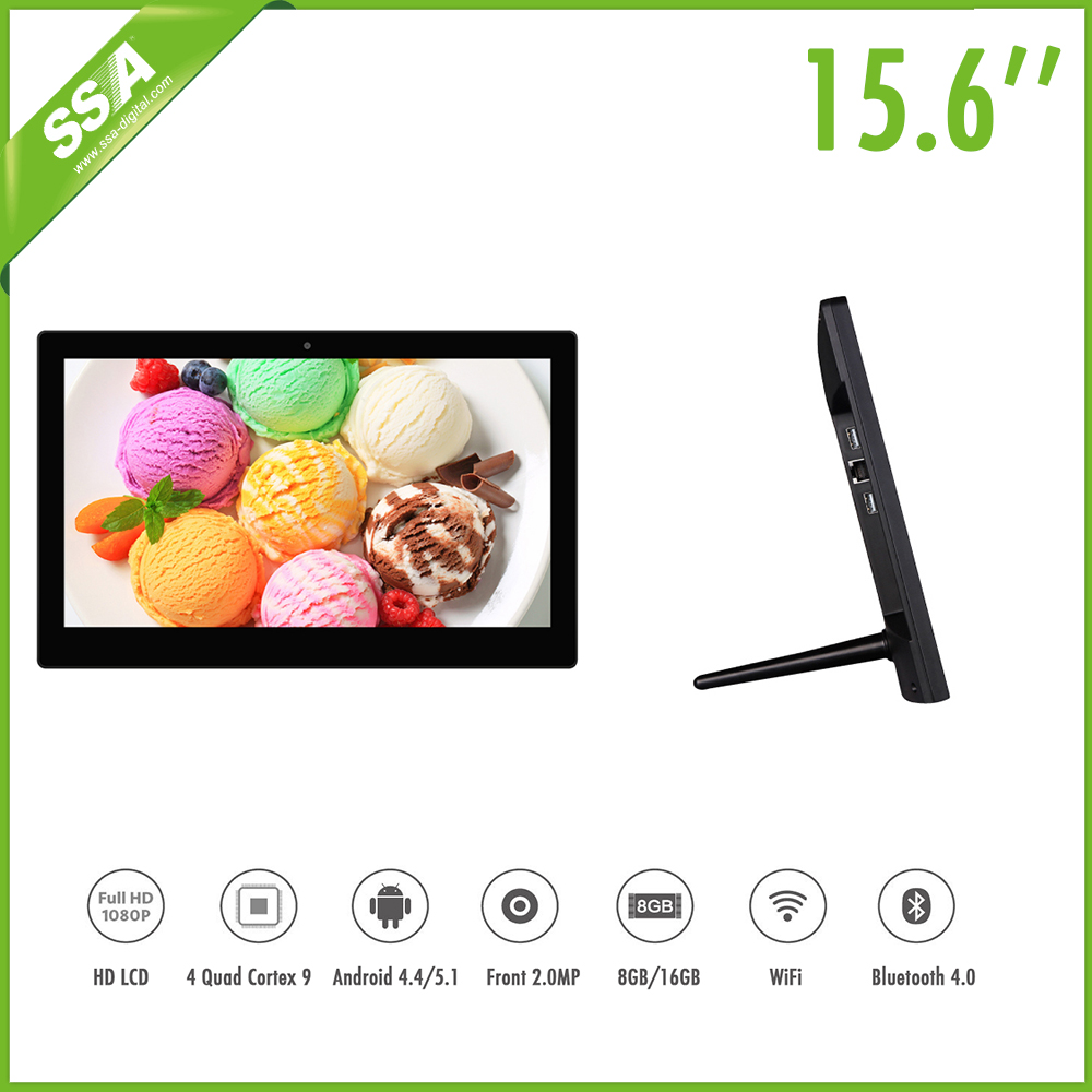 New design 15.6 inch free standing ultra thin high quality advertising lcd monitor