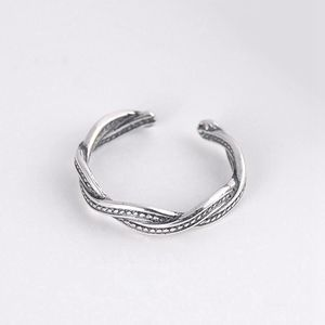 S925 Retro sterling silver old chain weaving joint tat ring