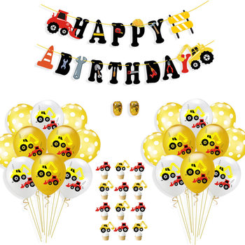 Confetti balloon set foil confetti balloon boy car theme birthday tractor party supplies