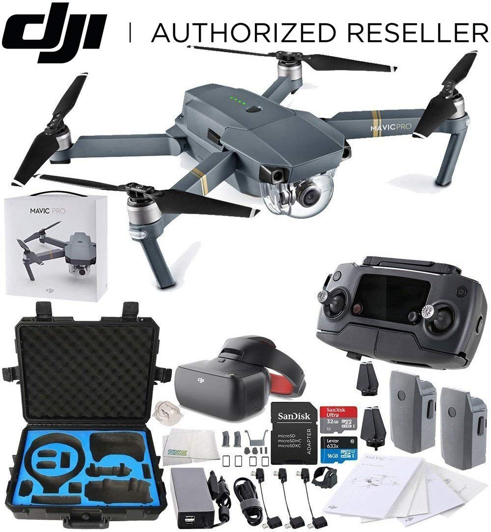 DJI Mavic Pro Collapsible Quadcopter + DJI Goggles Virtual Reality VR FPV POV (Racing Edition) + DJI Mavic and Goggles Cases Waterproof Carry Case POV Experience Essential Bundle