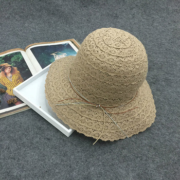 Plain lace foldable bucket straw hat sombrero natural straw hat factory 66a662cd7517