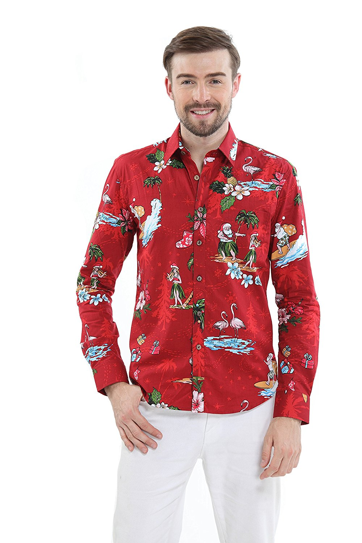 71eff6ff Get Quotations · Hawaii Hangover Men's Hawaiian Long Sleeve Fit Shirt Aloha  Shirt Christmas Shirt Santa Red