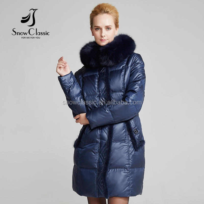 Warming faux fur collar fashion style down coat for winter woman