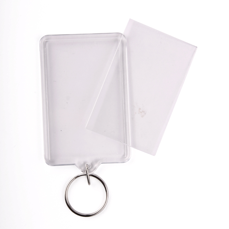 Oempromo Square plastic Clear Acrylic photo frame keychain
