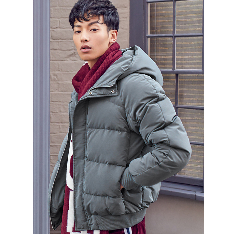 Winter men's fashion short paragraph thick warm down coat jacket men