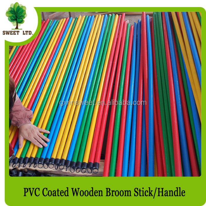 Single color wooden handle brush handle PVC coated broom stick