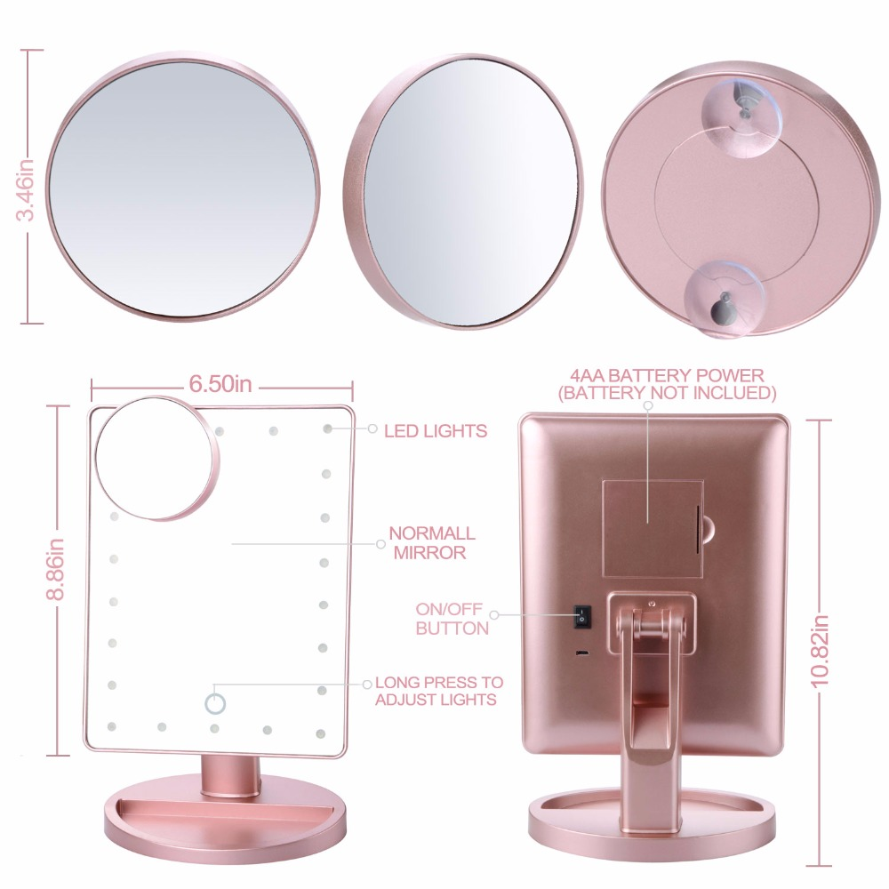 Rotation daily cosmetic mirror Rose gold makeup mirrors with 22 led lights and 10X Magnifying Mirror