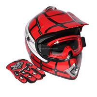 Youth Red Spider Net Dirt Bike Motocross Quads ATV Helmet Goggles+Gloves S M L
