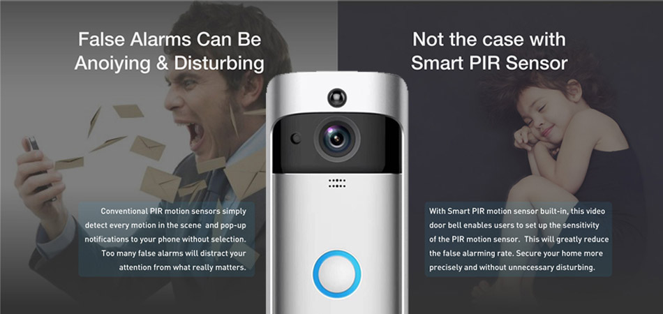 Smart WIFI security door bell wireless visual intercom recording remote home monitoring night vision video door bell