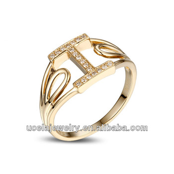 High Quality Brushed Gold Jewelry Letter Cz Engagement Finger ...