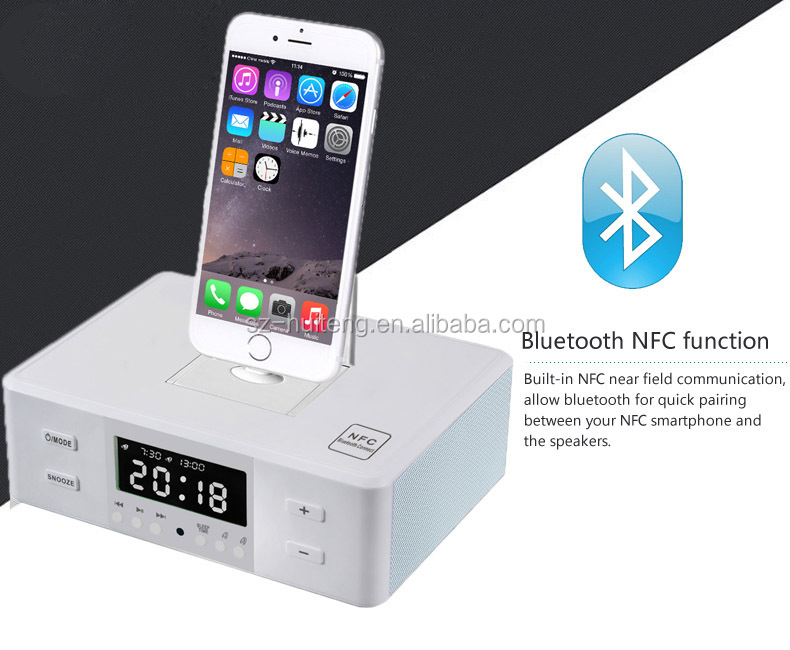 Fm Radio Alarm Clock Bluetooth Speaker Charging Dock Station For ...