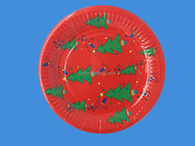 9inch round paper plate for christmas tree design with 300G,white cardboard,polishing,