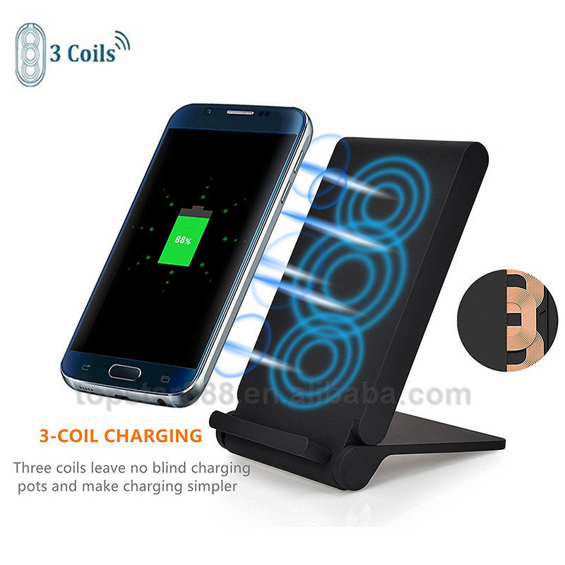 New Arrival Fast Wireless Charger Holder for Samsung Galaxy S8 S7 S6 edge 3 Coils Cell QI Fast Wireless Charging Pad Stand
