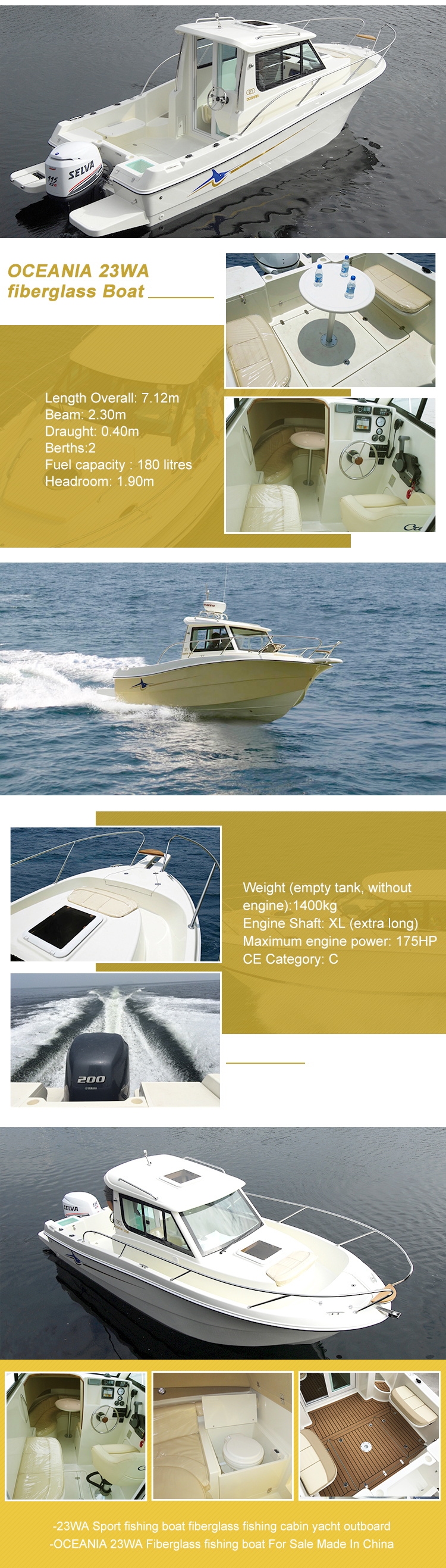 mini high speed boat super luxury yacht fiberglass fishing yacht