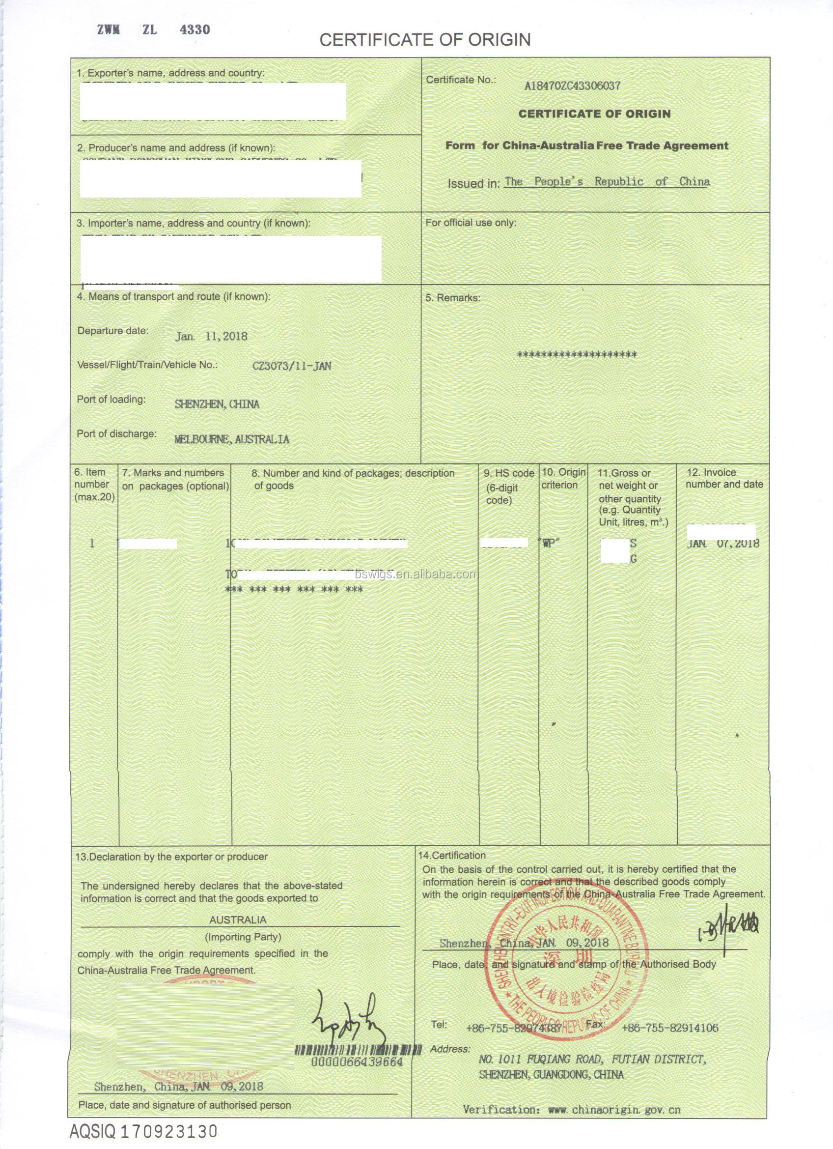 China Australia Free Trade Agreement Certificate Of Origin Form A