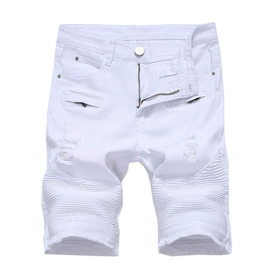 Hzcx Fashion Men's Midrise Elastic Wrinkle Ripped Straight Fit Denim Shorts