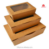 High quality recycle custom printed disposable quick kraft lunch paper box fast food box
