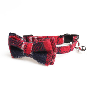 wholesale small red and blue plaid cat dog collar with bow tie accessories