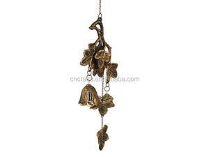 Cast Iron Leaf&Bells Wind Chimes,Bronze Color
