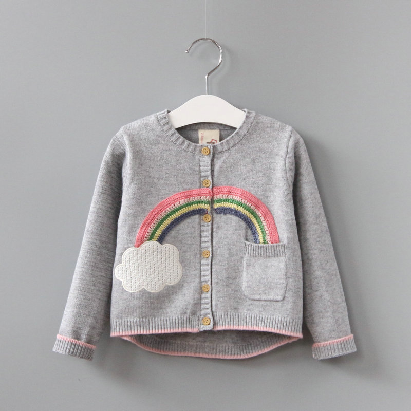 2017 spring autumn children knitted sweater baby boys girls rainbow clouds knitted cardigan children's sweaters