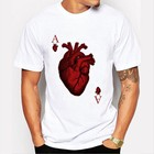 2019 High quality factory custom new design clothing heart printing T-shirt white short sleeve wholesale
