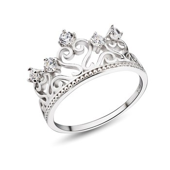Genuine Silver Ladies Fashion Rings Crown Engagement Ring For Her