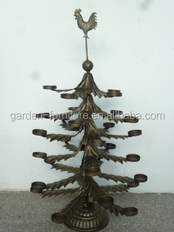 antique holiday home ornament display stand, wrought iron candle holder  tealight, tabletop metal christmas