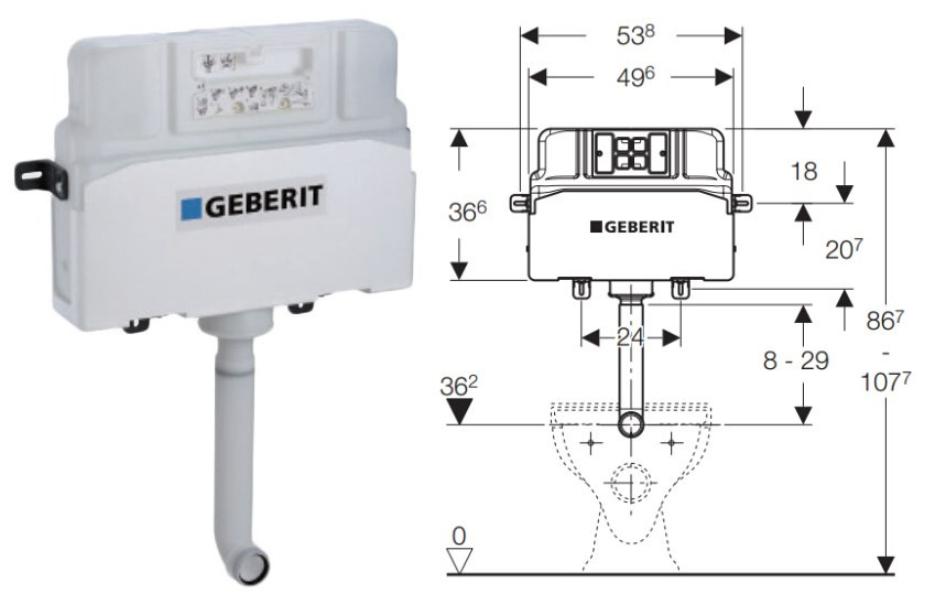 Geberit alpha in wall cistern watermark concealed cistern for Geberit toilet system