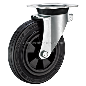 200mm Garbage Bin black Rubber Swivel Casters