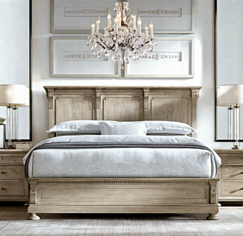 Luxury Bedroom Furniture King Size Bed Material Wooden Frame French