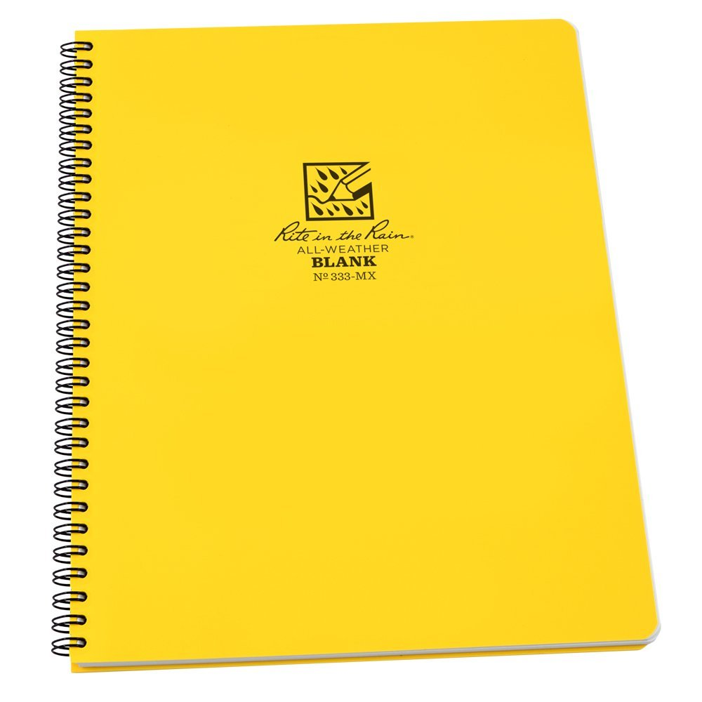 "Rite in the Rain All-Weather Side-Spiral Notebook, 8 1/2"" x 11"", Yellow Cover, Blank Pattern (No. 333-MX)"