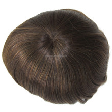 100% Indian Men Hair Toupee Wigs Full Pu Thin Skin Toupee Natural Hairline Toupee for Men
