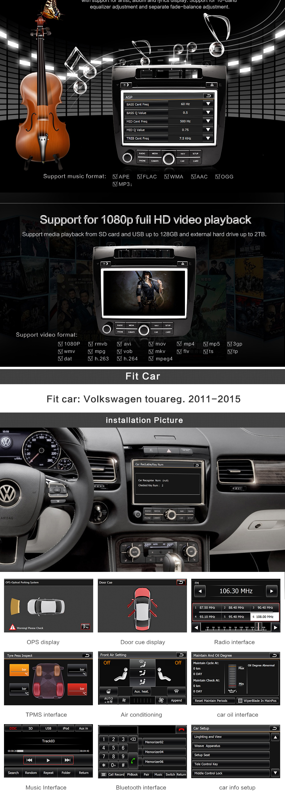 car dvd player for vw volkswagen touareg 2011-2013 car gps navigation system with OBD OPS IPAS SWC HD 1080P