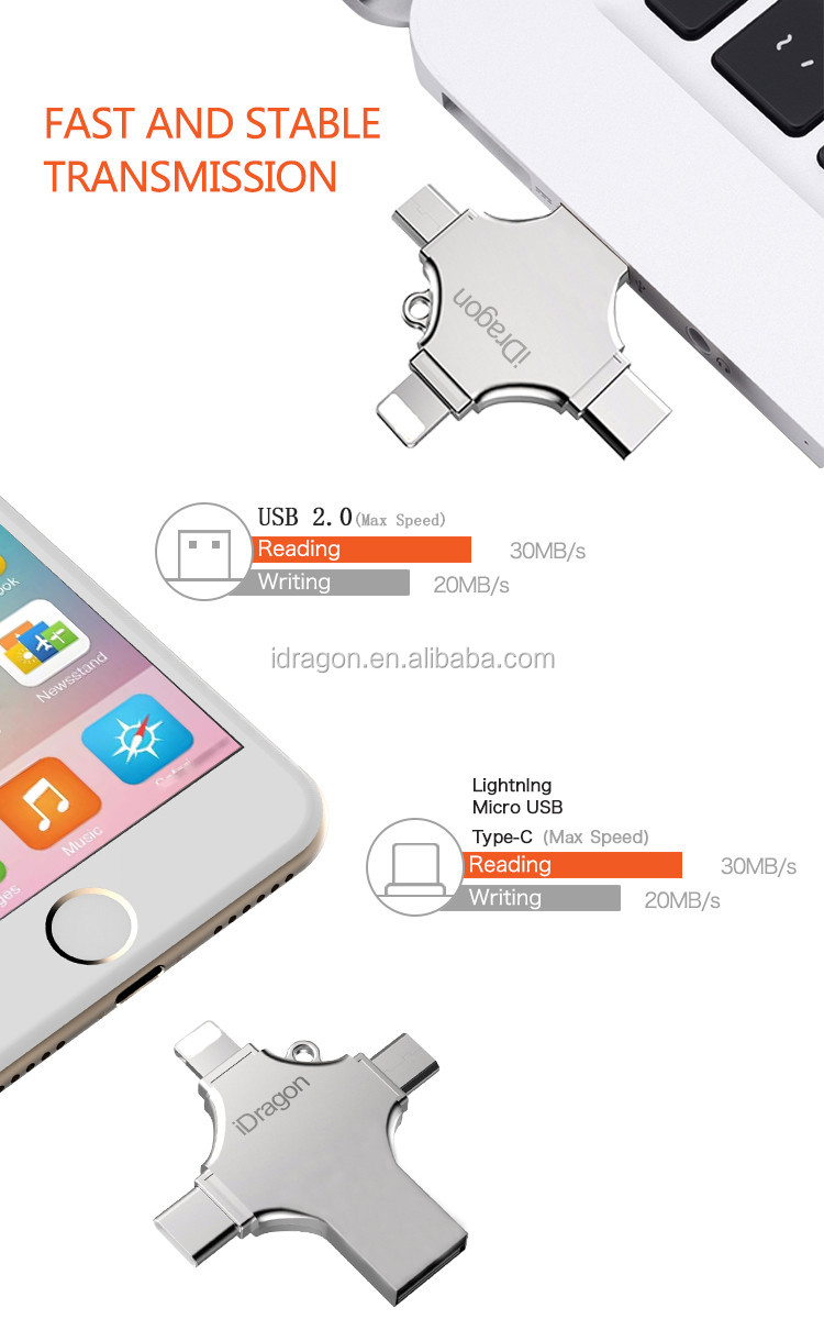 4 In 1 Iflash Drive Mobile Phone Custom Otg Usb Flash 8gb 16gb Device Hd Card Reader For Iphone Ipad Products Name Metal Lightning And Ipod Touch Support Cardtf