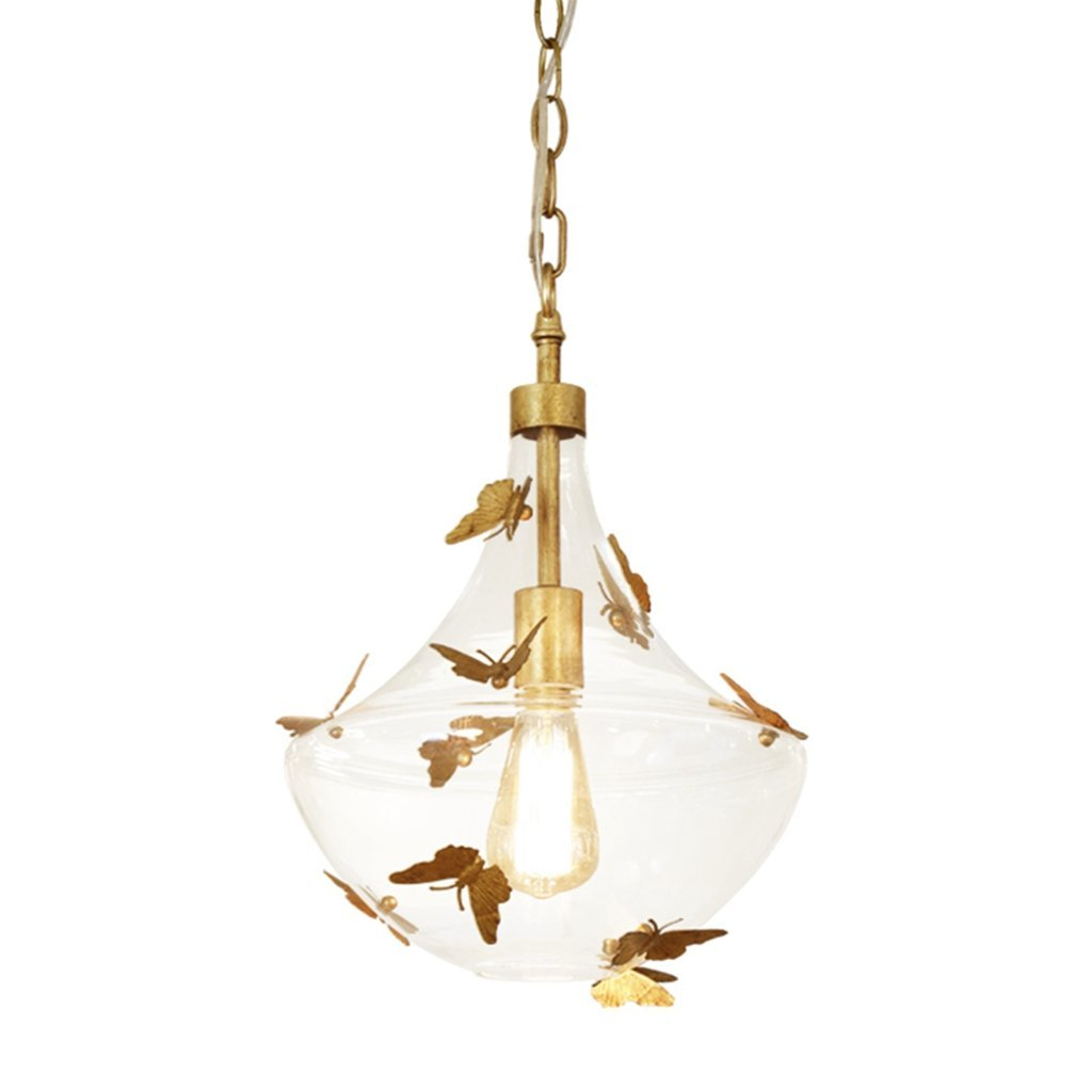 f9602acd2f82bf Docheer Vintage Metal   Glass Ceiling Light 1-Light Pendant Metal Decor Lighting  Gold Iron Butterfly Chandelier for Dinning Room