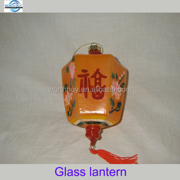 Hanging glass Chinese lantern w/ lucky words & China roses for Christmas or New year decoration