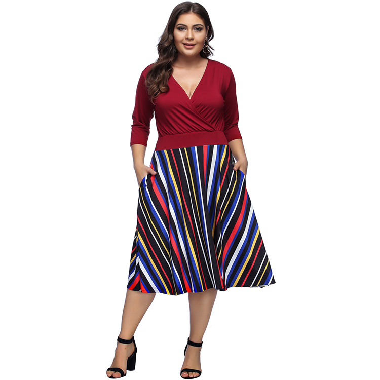 Latest Design Plus Size Vertical Stripes Fat Women Evening Dress Skirts For  Fat Women - Buy Plus Size Dress Skirts,Fat Women Dresses,Evening Dress For  ...