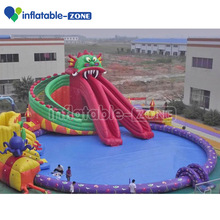 Giant inflatable water park, lake or sea beach water amusement park