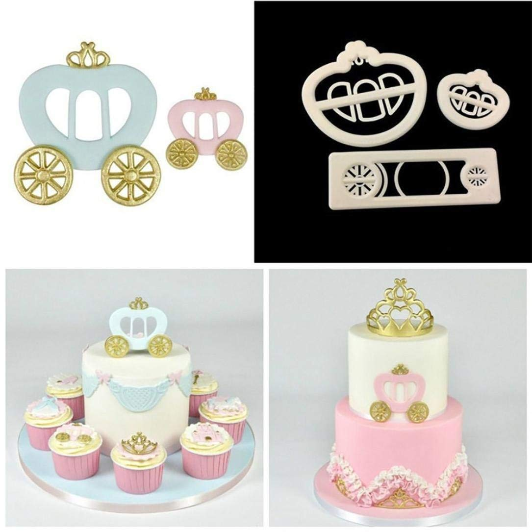 Cake Decorating Mold, KingWo Fondant Cake Mold Cookie Cutter Princess Carriage Print Plunger 3 Pc