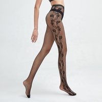 China manufacturer women transparent tights jacquard rose embroidery fishnet stocking pantyhose stocking sexy fishnet tights