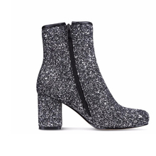 New fashion glitter leather ankle boots women fashion boots