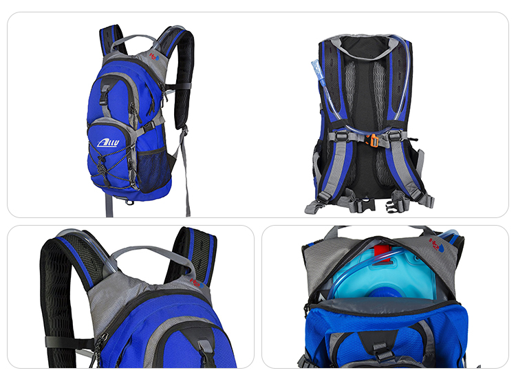 Durable push-lock cushioned bite valve comfortable decompression blue sports rucksack