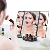 Touch Screen Trifold 22 LED Lighted Vanity Makeup Mirror with 1x/2x/3x Magnification USB Charging 180 Degree Adjustable Stand