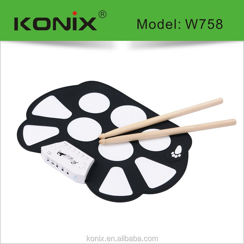 Play game on digital drum soft pad roll up midi drums