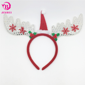 Christmas Headband Craft.Diy Christmas Headband Kids Glitter Sequin Christmas Head Bands With Hat Antlers