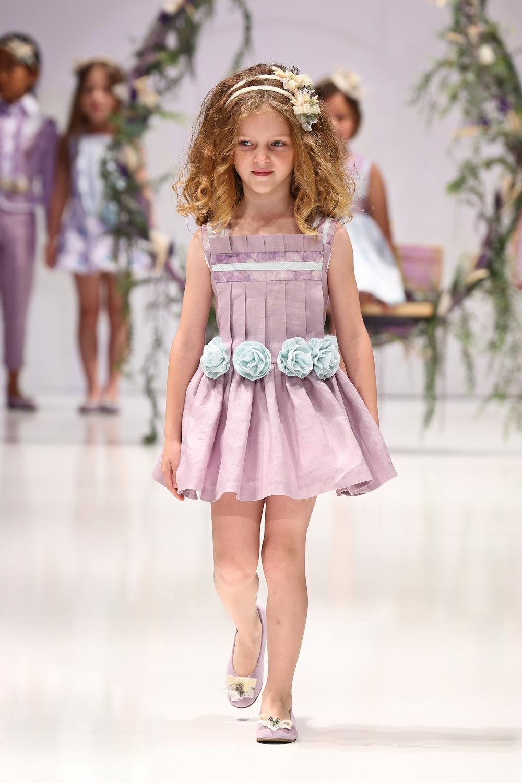 New Novelty Pleated Girl Dress Light Purple 3D Flower ...