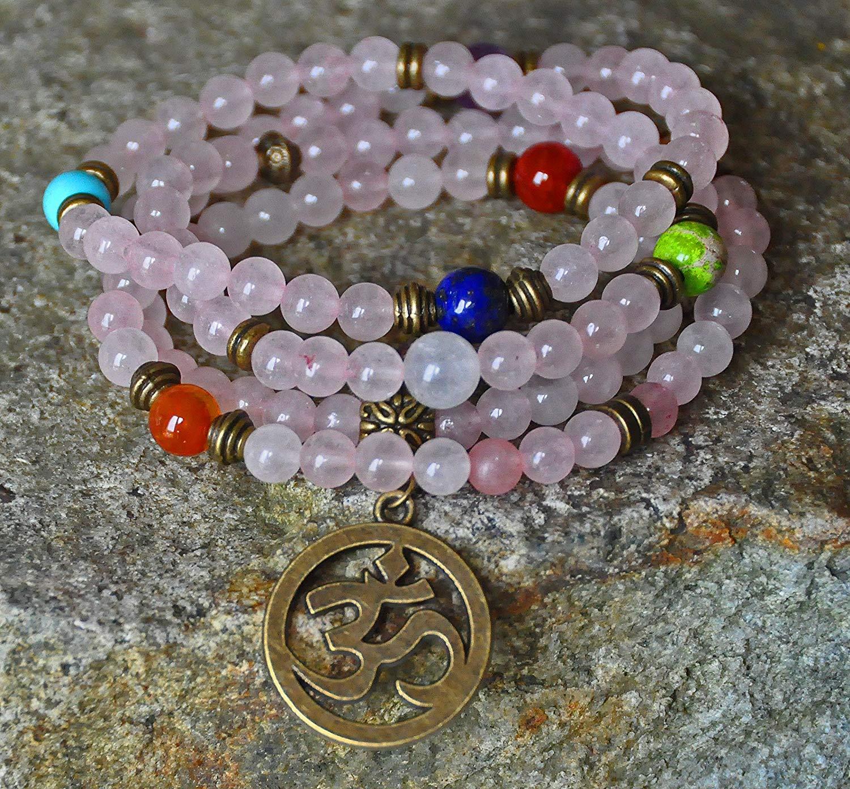 Love Rose Quartz Mala beads, Yoga Om necklace,gemstone chakra necklace,stack bracelet,mantra necklace, Meditation bracelet, Buddhist mala, Reiki necklace, spiritual mala,
