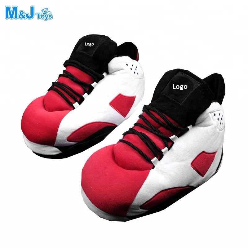 plush AJ sneaker <strong>slipper</strong> red and white stuffed running shoes indoor <strong>slippers</strong>