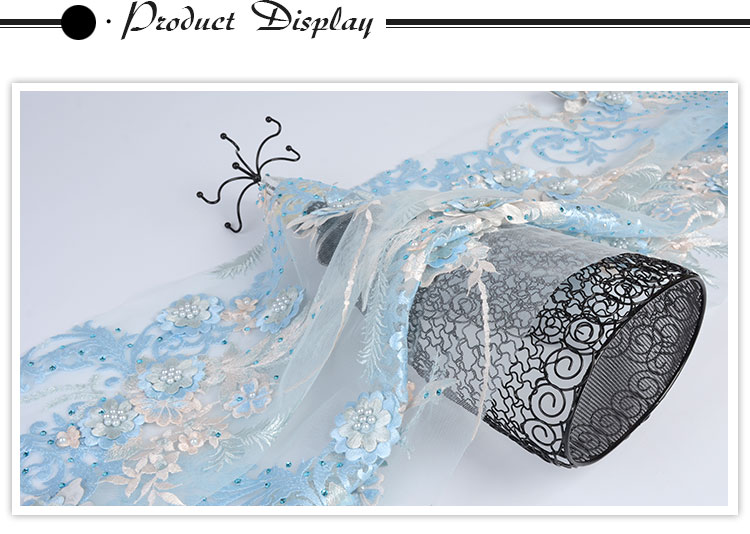 Fancy design luxury stone beaded 100 polyester 3d ivory pearls embroidered lace fabric